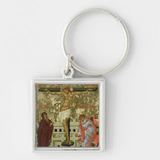 The Crucifixion of Our Lord Silver-Colored Square Key Ring