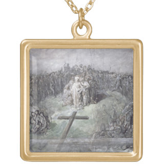The Crucifixion (w/c and gouache on paper) Square Pendant Necklace