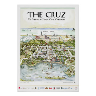 """The Cruz"" The View from Santa Cruz, CA Poster"