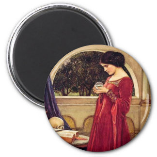 """""""The Crystal Ball"""" by John William Waterhouse 6 Cm Round Magnet"""