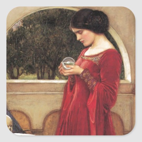 The Crystal Ball [John William Waterhouse] Square Sticker