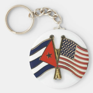 The Cuban Flag and the American Flag Basic Round Button Key Ring