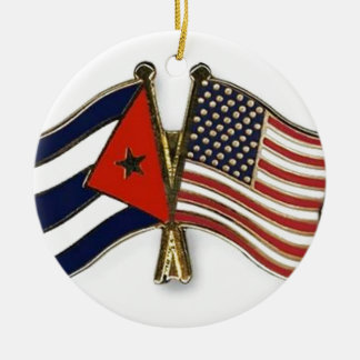 The Cuban Flag and the American Flag Christmas Ornament