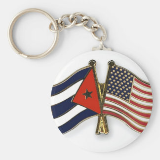 The Cuban Flag and the American Flag Key Ring
