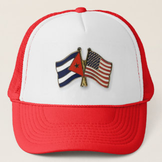 The Cuban Flag and the American Flag Trucker Hat