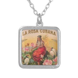 The Cuban Rose Vintage Design Cuba Square Pendant Necklace