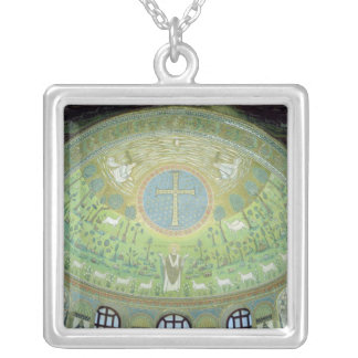 The cupola with a mosaic depicting silver plated necklace