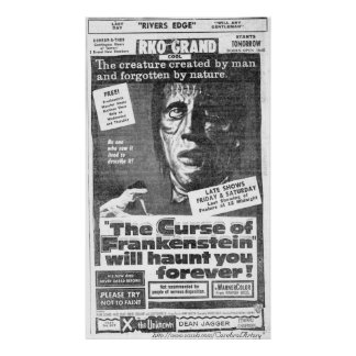 """The Curse of Frankenstein"" (1957) Ad - Poster"