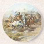 The Custer Fight by Charles Marion Russell Drink Coaster