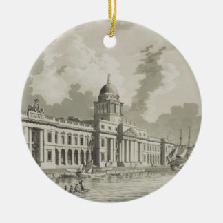 The Custom House, Dublin, 1792 (engraving) Round Ceramic Decoration