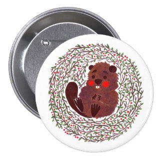 The Cute Baby Beaver Pinback Buttons