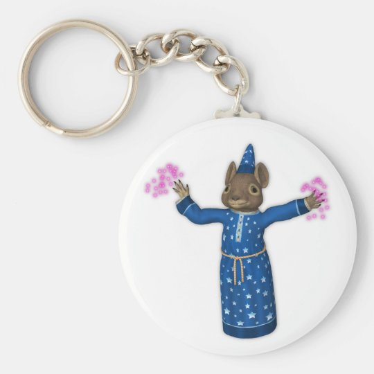 The Cute Cartoon Wizard Mouse Basic Round Button Key Ring