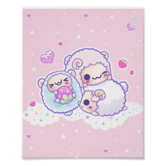 The cute cotton candy sheep poster