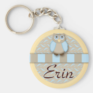The Cute 'N Wise Old Owl Basic Round Button Key Ring