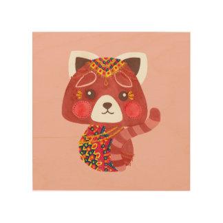 The Cute Red Panda Girl Nursery Wall Art Wood Prints