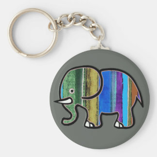 the cute striped elephant basic round button key ring