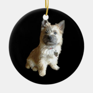 The Cutest Cairn Terrier Ever!  Cuter than Toto! Round Ceramic Decoration