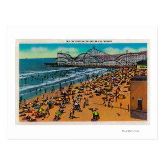 The Cyclone Racer and Beach Crowds, Long Beach Postcard