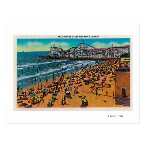 The Cyclone Racer and Beach Crowds, Long Beach Post Cards