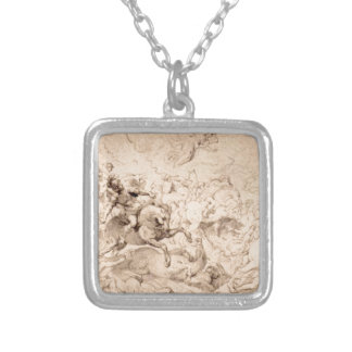 The Damage of Sennaherib by Peter Paul Rubens Square Pendant Necklace