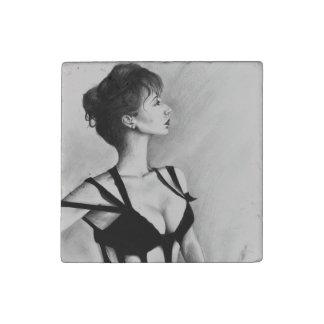 The Dame Original Art Portrait Stone Magnet