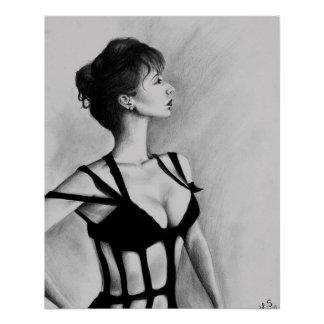 The Dame Sexy Woman Black Dress Portrait Art
