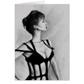 The Dame Woman Portrait Black & White Original Art Card