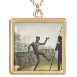 The Dance, aborigines from New South Wales engrave Gold Plated Necklace