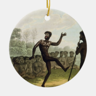 The Dance, aborigines from New South Wales engrave Round Ceramic Decoration