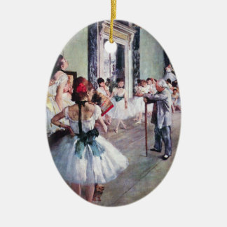The Dance Class by Edgar Degas, Vintage Ballet Art Ceramic Oval Decoration