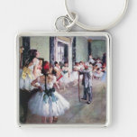 The Dance Class by Edgar Degas, Vintage Ballet Art Silver-Colored Square Key Ring