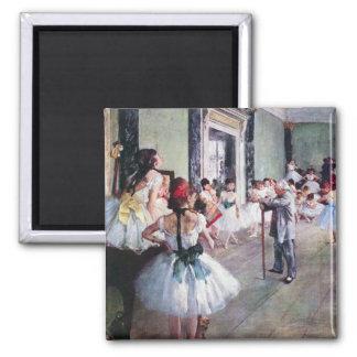 The Dance Class by Edgar Degas, Vintage Ballet Art Square Magnet