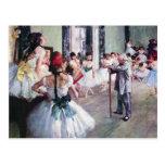 The Dance Class by Edgar Degas, Vintage Ballet Post Card