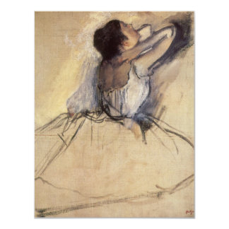 The Dancer by Edgar Degas, Vintage Ballerina Art 11 Cm X 14 Cm Invitation Card