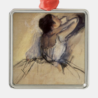 The Dancer by Edgar Degas, Vintage Ballerina Art Silver-Colored Square Decoration