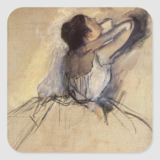 The Dancer by Edgar Degas, Vintage Ballerina Art Square Sticker