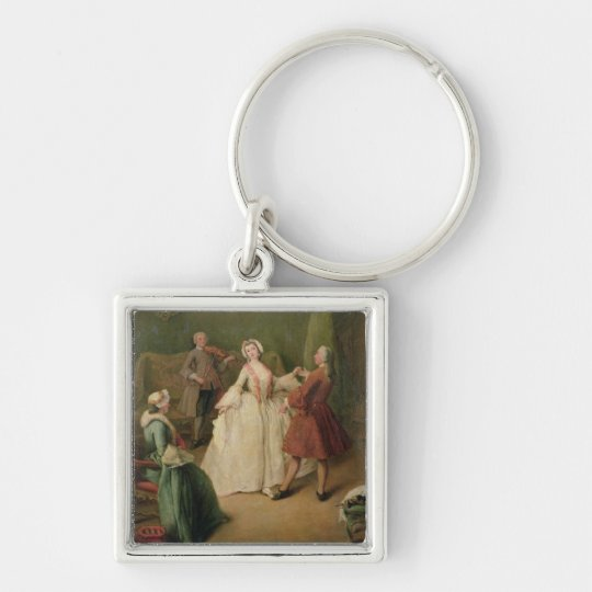 The Dancing Lesson Silver-Colored Square Key Ring