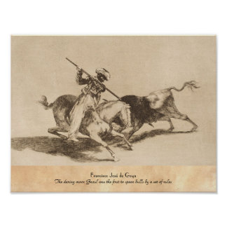 The daring moor Gazul was the first to spear bulls Poster