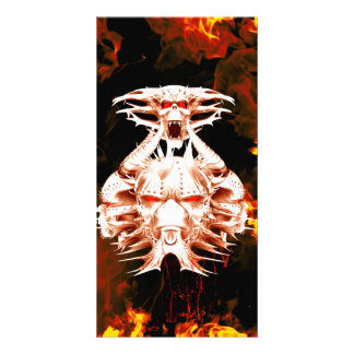 The dark side, skull surrounded by fire personalized photo card