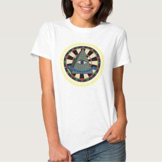 The dart gods are watching. Illuminati dartboard T-shirts