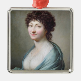 The Daughter: Portrait of Caroline Susanne Graff Silver-Colored Square Decoration