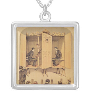 The Davenport brothers, poster for Seance, 1865 Silver Plated Necklace
