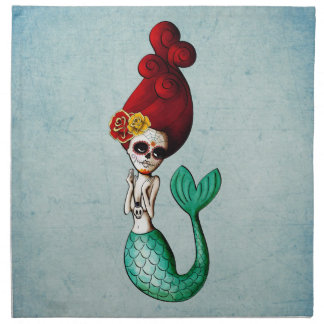 The Day of The Dead Beautiful Mermaid Gal Napkin