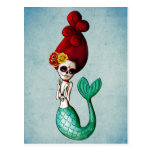 The Day of The Dead Beautiful Mermaid Postcard