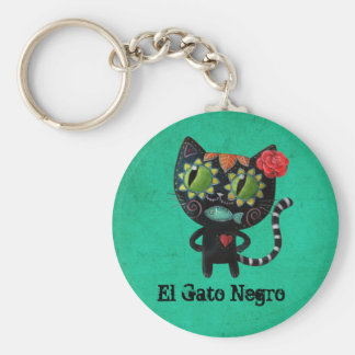The Day of The Dead Black Cat Basic Round Button Key Ring