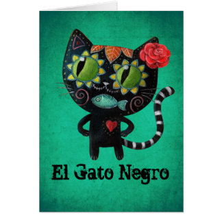 The Day of The Dead Black Cat Greeting Card