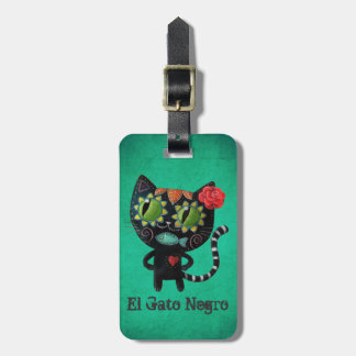 The Day of The Dead Black Cat Luggage Tag