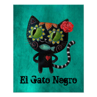 The Day of The Dead Black Cat Poster