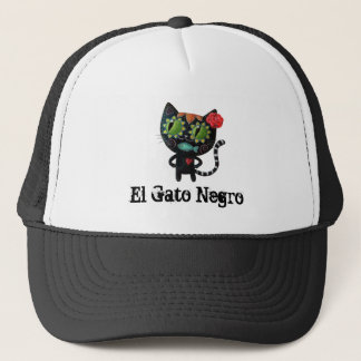 The Day of The Dead Black Cat Trucker Hat