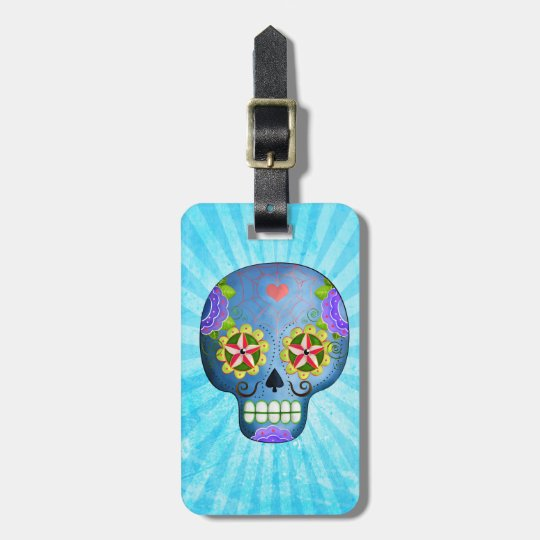 The Day of The Dead Blue Sugar Skull Luggage Tag